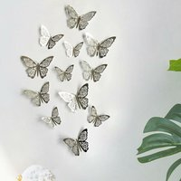 12pcs/set Vivid 3D Butterfly Wall Stickers Removable Mural Stickers DIY Art Wall Decals Decor with Glue for Bedroom Wedding Party--Silver,model:Silver