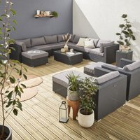 13-14 seater rattan garden furniture large sofa set table, black weave. Ready assembled conservatory furniture
