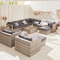 13-14 seater rattan garden furniture large sofa set table, mixed grey weave. Ready assembled conservatory furniture
