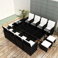 Youthup - 13 Piece Outdoor Dining Set with Cushions Poly Rattan Black