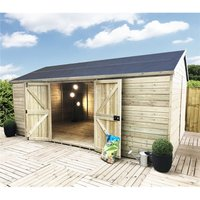 13 x 8 WINDOWLESS Reverse Premier Pressure Treated Tongue And Groove Apex Shed With Higher Eaves And Ridge Height Double Doors (12mm Tongue and Groove
