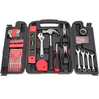 136pcs Basic Tool Set Wrench Screwdriver Box Accessory Set Home Shop Workplace Use Red