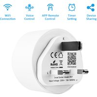 Asupermall - 13A 2990W Mini WiFi Smart Socket UK Plug Smart Outlet APP Remote Control Timer Function Voice Control Compatible with Google