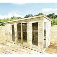 14 x 8 COMBI Pressure Treated Tongue and Groove Pent Summerhouse with Higher Eaves and Ridge Height + Side Shed + Toughened Safety Glass + Euro Lock