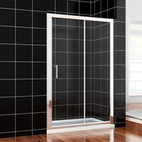 1400 x 760mm Sliding Shower Enclosure 6mm Safety Glass Screen Door Cubicle with Tray + Waste