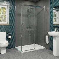 1400 x 900mm Sliding Shower Enclosure Door Side Panel 8mm Frameless Tray Waste - DIAMOND