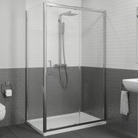 1400 x 700mm Sliding Shower Door and Side Panel Enclosure 8mm Framed Tray and Waste - DIAMOND