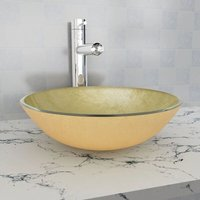 Basin Tempered Glass 42 cm Gold - Gold - Vidaxl