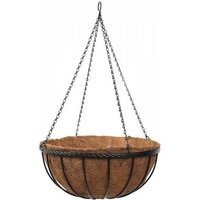Smart Garden 35cm 14 Inch Metal Saxon Metal Hanging Basket Black Planter Liner