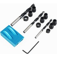 14pcs Pocket Hole Drilling Jig with 6/8 / 10mm With 15 ° Angle Joint Wooden Drill Punch Locator for Pea Working Angle Drill Guide With Adapter And