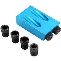 Briday - 15 ° Angle Pocket Jig Kit Oblique Woodworking Guide Drilling Drill Positioner 6/8/10 mm Blue