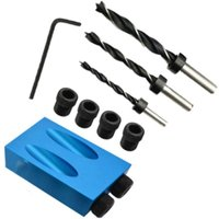 Briday - 15 degree angle drilling kit for wood with drill bit template guide and 6/8/10 mm holes