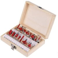 15-Piece Router Bit Set, Router Bits, Tungsten Carbide for Wood Holes (1/4 inch)