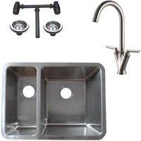 1.5 Stainless Steel Undermount Kitchen Sink and Dual Lever Mixer Tap (KST125 R)
