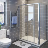 1500 x 760 mm Sliding Shower Enclosure 6mm Glass Reversible Cubicle Door Screen Panel with Shower Tray and Waste + Side Panel