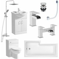 1500mm Bathroom Suite RH L Shaped Bath Vanity Unit BTW Toilet Tap Set Shower
