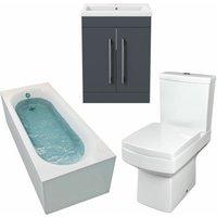 1500mm Bathroom Suite Single Ended Bath Toilet Vanity Unit Basin Modern