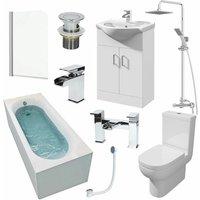 Affine - 1500mm Single Ended Bathroom Suite Bath Shower Screen Basin Taps Toilet Waste