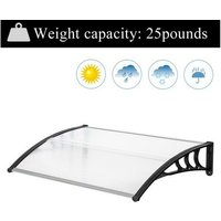 Talkeach - 150*100cm Door Canopy Transparent Awning Shelter Front Back Porch Outdoor Shade Patio Roof-Black