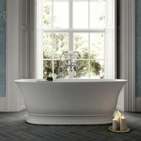 1555mm Luxury Traditional Freestanding Bath Double Ended Waste White 175 Litres