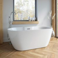 Vasari - 1555mm Modern Freestanding Bath Double Ended Overflow Waste White Acrylic Luxury
