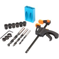 15pcs Pocket Hole Jig Kit 8mm 10mm 15 Degree Angle Drill Guide Woodwoorking Tool Inclined Hole Jig Hole Puncher Locator Jig Drill Bit Carpentry