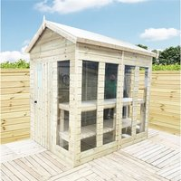 16 x 10 Pressure Treated Tongue And Groove Apex Summerhouse - Potting Shed - Bench + Safety Toughened Glass + RIM Lock with Key + SUPER STRENGTH