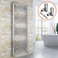 1600 x 600 mm Chrome Radiator Bathroom Straight Towel Rail Radiator + Angled Radiator Valves