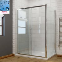1600 x 700mm Sliding Shower Enclosure 8mm Easy Clean Glass Shower Cubicle Door with Shower Tray + Side Panel