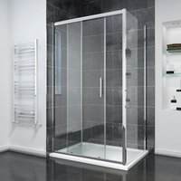 1600 x 700mm Sliding Shower Enclosure 8mm Easy Clean Glass Shower Cubicle with Shower Tray + Side Panel