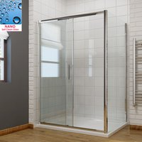 1600 x 760 mm Sliding Shower Enclosure 8mm Easy Clean Glass Shower Cubicle Door with Stone Tray + Side Panel