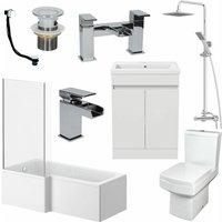 1600mm Bathroom Suite LH L Shape Bath Screen Vanity Basin Toilet Shower Taps