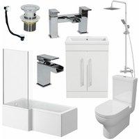 1600mm Bathroom Suite LH L Shaped Bath Screen Basin Toilet Shower Taps Waste