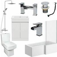 1600mm Bathroom Suite RH L Shape Bath Screen Vanity Basin Toilet Shower Taps