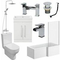 1600mm Bathroom Suite RH L Shaped Bath Screen Basin Toilet Shower Taps Waste