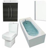 Affine - 1600mm Bathroom Suite Single Ended Bath Screen Toilet Vanity Unit Basin Modern