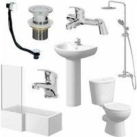 1600mm Bathroom Suite L Bath Shower Screen Toilet Basin - Left Hand - Essentials