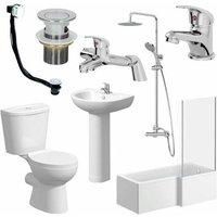 1600mm Essentials Bathroom Suite L Bath Shower Screen Toilet Basin - Right Hand