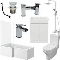1600mm LH L Shaped Bathroom Suite Bath Shower Screen Basin Taps Toilet Waste