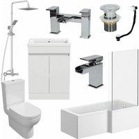 1600mm RH L Shaped Bathroom Suite Bath Shower Screen Basin Taps Toilet Waste