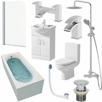 1600mm Single Ended Bathroom Suite Bath Shower Screen Toilet Vanity Basin Taps
