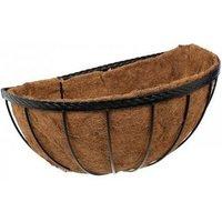 Smart Garden 40cm 16 Inch Saxon Metal Wall Manger Basket Black Planter Liner