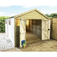 Marlborough Workshops(bs) - 17 x 13 Premier Pressure Treated Tongue And Groove Apex Shed With Higher Eaves And Ridge Height 8 Windows And Double