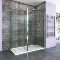 1700 x 700 mm Walk in Shower Enclosure 8mm Easy Clean Glass 900mm Wetroom Shower Glass Panel with Side Panel and Shower Tray and 300mm Flipper Panel