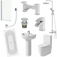 1700mm Bathroom Suite Double Ended Bath Shower Screen Toilet Basin Pedestal Taps