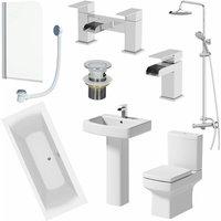 Affine - 1700mm Bathroom Suite Double Ended Bath Shower Toilet Basin Pedestal Taps Screen