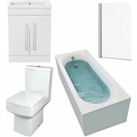 1700mm Bathroom Suite Gloss White Straight Bath Screen Toilet Vanity Unit Basin