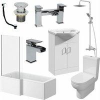 Affine - 1700mm Bathroom Suite LH L Shaped Bath Screen Basin Toilet Shower Taps Waste