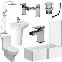 Affine - 1700mm Bathroom Suite RH L Shaped Bath Screen Basin Toilet Shower Taps Waste