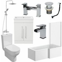 1700mm Bathroom Suite RH L Shaped Bath Screen Basin Toilet Shower Taps Waste
